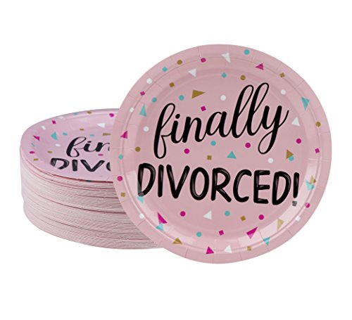 Disposable Plates - 80-Count Paper Plates, Divorce Party Supplies for Appetizer, Lunch, Dinner, and Dessert, Pink, 9 x 9 Inches