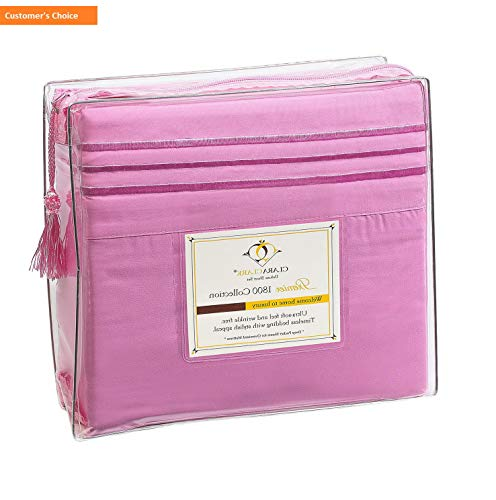 Mikash New Soft Premier 1800 Collection Deluxe Microfiber 3-Line Bed Sheet Set, Strawberry Pink, King Size | Style 84597401