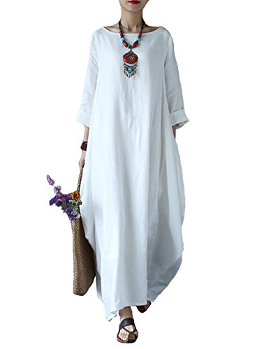 Celmia Women's 3/4 Sleeve Round Neck Solid Loose Long Maxi Dress Cotton Gown with Side Pockets Off White L