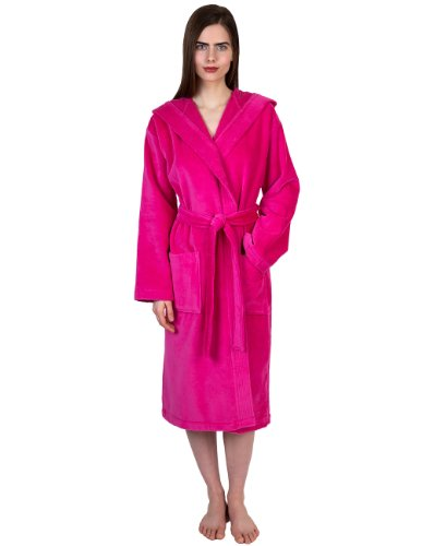 TowelSelections Womens Hooded Velour Bathrobe