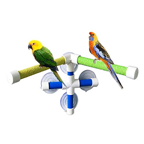 (Bird Shower Perch, Portable Suction Cup Window Shower Perch Stand, Parrot Bath Stand for Parrot Macaw African Greys Cockatoo Cockatiel Budgie Lovebirds Conures Parakeet 2 Bar and 4 Suction Cup)