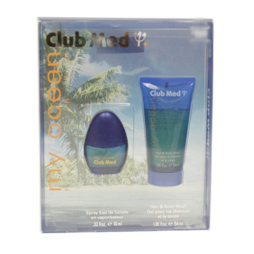 Club Med My Ocean By Coty For Men. Gift Set ( Eau De Toilette Spray 0.33 Oz + Hair & Body Wash 1.8 Oz )