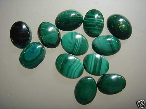 Cabochon Gemstone Malachite 6 x 8 mm Oval (Pkg 15) Authentic Real NOT Dyed ()