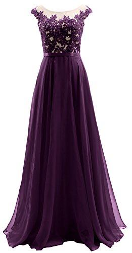 Chiffon Lace Eggplant Dress Illusion Sleeves Wedding Macloth Party Prom Cap Long O7a0aw