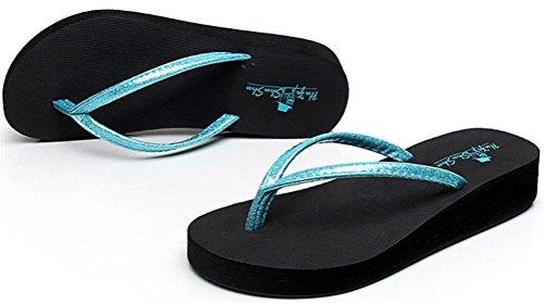 Plate-forme Paillette Femme Mi-talon Wedges Sandales Tongs Pantoufles Bleu