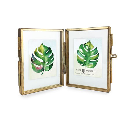 Isaac Jacobs Brass and Glass DOUBLE Floating Frame with Sliding Locket Closures (2x3, Antique - Locket 2 Photo Picture