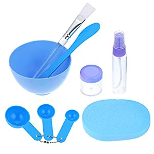 eBoot 9 Pieces Facemask Tool Kit DIY Mask Tools Facial Care Make Up Mixing Tool Sets Including Bowl Spatula Brush Gauge Puff Bottle
