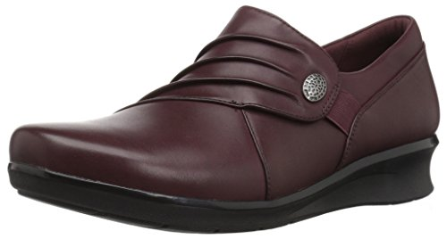 Clarks Women's Hope Roxanne Loafer, Burgundy Leather, 8 M US ()