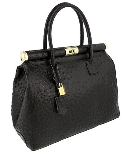[HS Collection HS8005 SNR MINERVA Black Satchel/Shoulder Bag] (Minerva Collection Fashion)