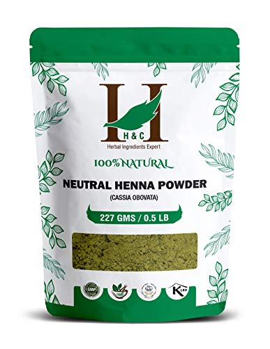 H&C 100% Pure Organically Grown Neutral Henna Powder/Colorless Henna/Senna Powder/Cassia Obovata (227g / (1/2 lb) / 8 ounces) For conditioning your hair without coloring.