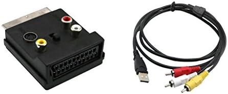 P Prettyia ScartエクステンションとRCA + SビデオVHSアダプター+ USB男性-3RCA男性ビデオAV A/V変換ケーブルアダプター(HDTV TV用)