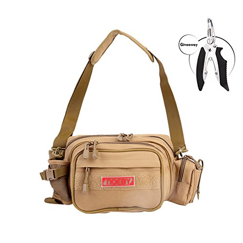 Noeby Fishing Bag + Portable Fishing Plier Outdoor Fishing Tackle Bag Multiple Waist Bag Fanny Pack Waterproof Fishing Tackle Bags for Camping Hiking Cycling Outdoors Sport