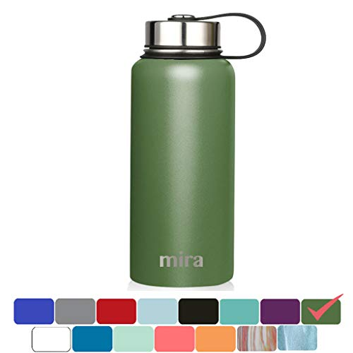 MIRA 32 Oz Stainless Steel Vacuum Insulated Wide Mouth Water Bottle | Thermos Keeps Cold for 24 hours, Hot for 12 hours | Double Wall Powder Coated Travel Flask | Olive Green (Twenty Bottles)