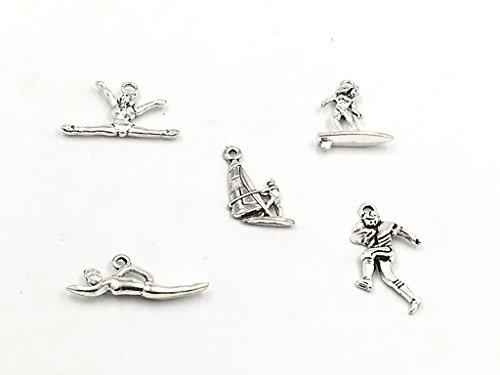 Diy Gymnast Costume (Kinteshun Alloy Sportsman Athlete Charm Pendant for DIY Jewelry Making Accessaries(20pcs,Antique Silver Tone))