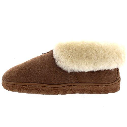 Polar Uomo Foderato Di Pelliccia Genuina Pelle Di Pecora Australiana Bracciale Pelliccia Stivali Pantofole - Tan - UK11/EU45 - YC0453