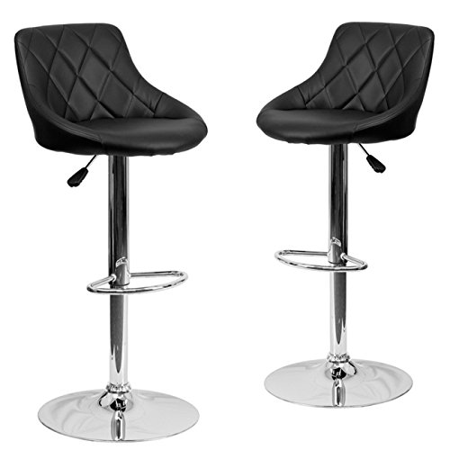 Belleze Set of (2) Black Faux Leather Bucket Seat Adjustable Barstool with Chrome (Chrome Dining Room Bar Stool)
