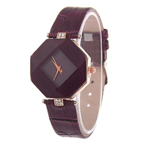 Corgy Women Fashion Synthetic Leather Band Lozenge Analog Quartz Wrist Watch Bracelet Bangle Wrist Watches from Corgy