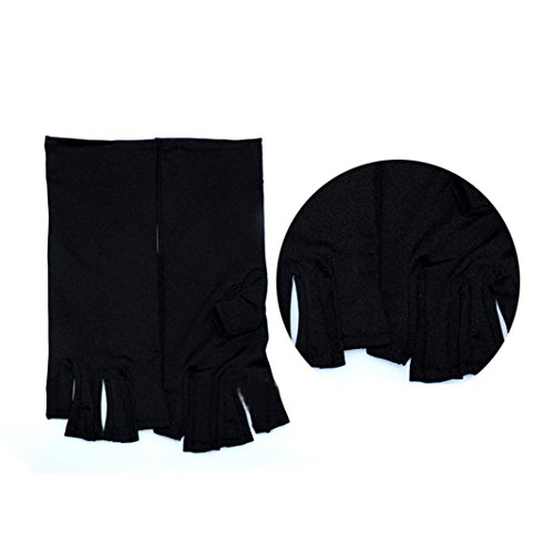 Price comparison product image UV / LED Lamps Pro Filter (97%) Fingerless Gloves for Gel Manicures (Black)