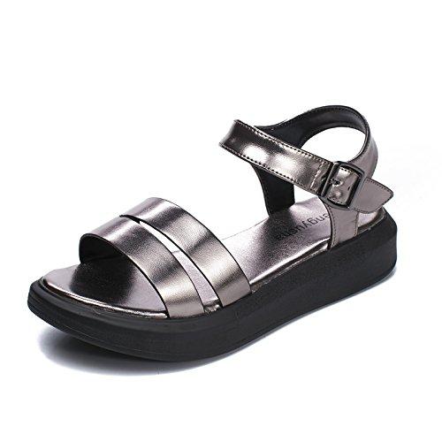 la Estudiantes gun Inferior Escuela color Romano Parte Word Band Estilo Plata Lady NVLXIE Compras Espeso Sandals Verano de Parte de wq7pXU