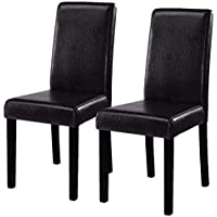 Costway Set of 2 Parson Chairs Elegant Design Leather...