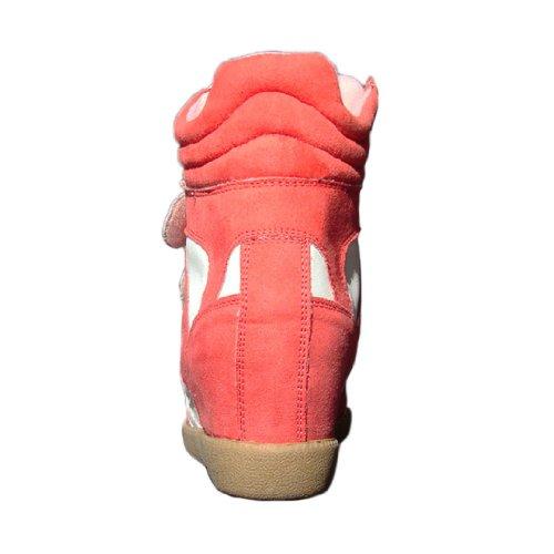 Qupid Vrouwen Patrol01 Faux Suede Velcro Hoge Top Wedge Sneaker Koraal