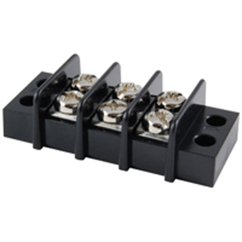 NTE Electronics 25-B500-03 Series 25-B500 Terminal Block Barrier Strip, Dual Row Panel Mount, 20 Amp, Dual Row, 3 Pole, 9.50 mm Pitch, 300V, 22-14 AWG Wire Range