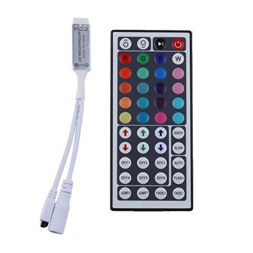 - LEDMO Mini IR Remote Controller 44 Keys, DC12V, MAX 6A, for RGB LED Strip Light, RGB LED Tape