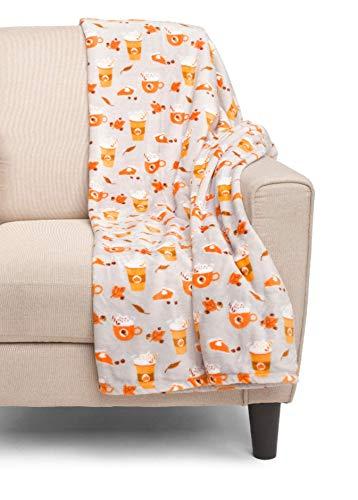(Peanuts Pumpkin Pie Latte Halloween Throw Blanket Fall Leaves Soft Plush 60 x 70 by Berkshire Blanket)