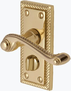 Georgian Brass Privacy Locking Door Handles 105mm x 48mm: Amazon ...