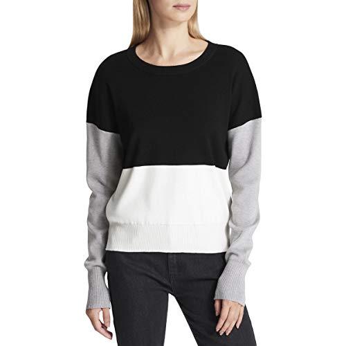 (DKNY Womens Colorblock Jewel Neck Pullover Sweater Black XS)