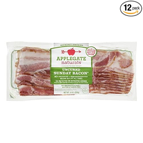 Applegate Naturals Uncured Sunday Bacon, 8 Ounce (Pack of 12)