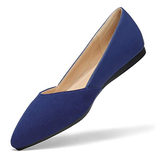VILIYA Women's Flats Shoes Casual Fashion Pointed Toe Slip-On Comfort Multi Colors Navy 10