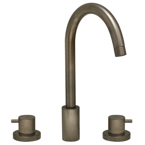 Whitehaus WHLX78214-BN-PVD Luxe 7-Inch Widespread Lavatory Faucet with Tall Gooseneck Swivel Spout and Pop-Up Waste, Brushed Nickel-Pvd