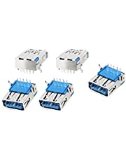 uxcell Single USB 3.0 Type A Female Right Angle 9-Pin DIP Jack Socket, 5 Pieces