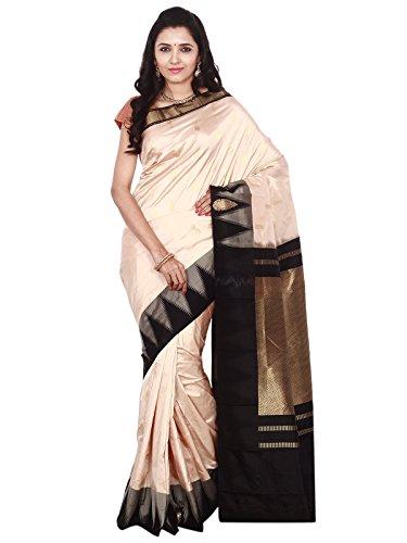 Indian Silks Temple Design Women's Kanchipuram Handloom Pure Silk Saree, With Blouse (IS072_Cream)