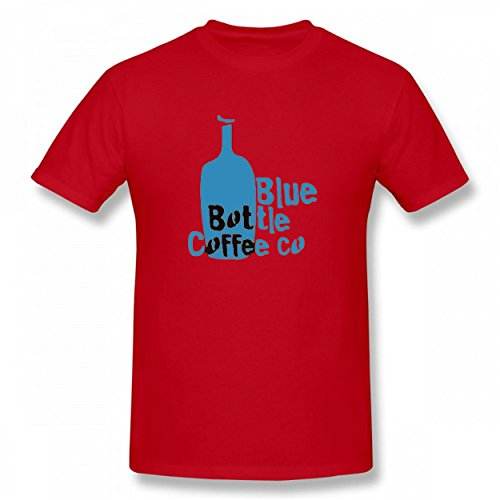 MNXBEST Blue Color Bottle With Coffee Tshirt Printed Cotton T-Shirts Tops Logo Men Tee Red