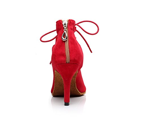 Lace Minishion Shoes Cut Women's Out Dance Suede Red Ankle up 1wqw4tC