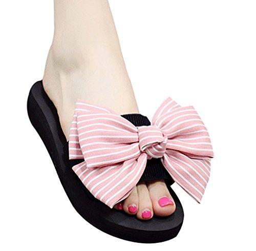 Cattior Womens Big Bows Summer Outdoor Beach Slippers Slide Sandals Pink WQXnwlsQs