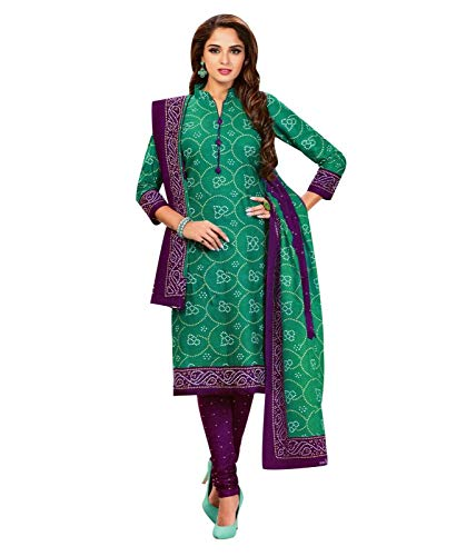 Ladyline Readymade Bandhej Printed Pure Cotton Salwar Kameez Dress Indian (Size_48/ Teal Green) - Green Salwar Kameez