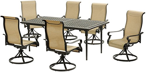 Hanover BRIGDN7PCSW6-EX Brigantine 7Piece Set with an Expandable Cast-Top Dining Table & 6 Sling Swivel Rockers Outdoor Furniture, Tan Review