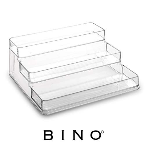 BINO Stadium 3-Tiered Pantry Cabinet Plastic Storage Organizer Rack – Storage for Kitchen, Refrigerator, Freezer and Pantry, Clear