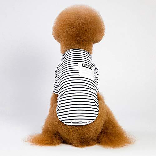 Small Dog Striped Vest Pet Dog Angel Vest Dog Cat Cute Summer Clothes Black ()