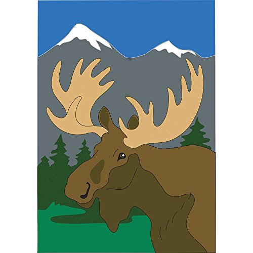 Moose in the Snow Capped Mountains 18 x 13 Rectangular Double Applique Small Garden Flag Moose Trail Lodge