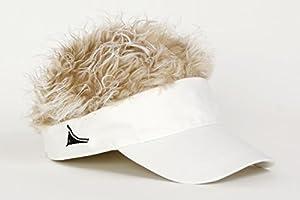 FlairHair White Visor with Blonde Hair