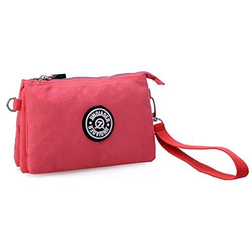 Tiny-Drei Schichten Reißverschluss Geldbörse Wasserdicht Nylon Wristlet Tasche Handy-Tasche mit Schultergurt Rose n0ws3QThy5