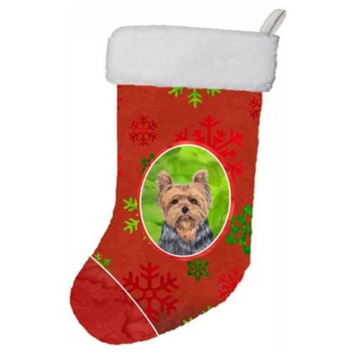 Caroline's Treasures SC9428-CS Yorkie Red and Green Snowflakes Holiday Christmas Stocking, 11 x 18