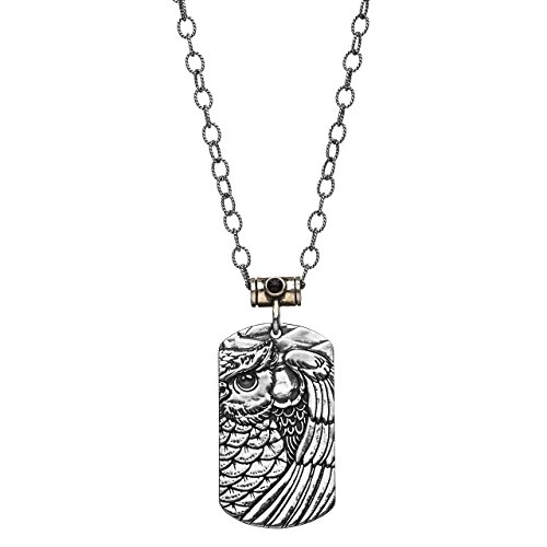 Owl Pendant on a Sterling Silver Tattoo-Inspired Dog Tag Shaped Necklace (Seeking Men)