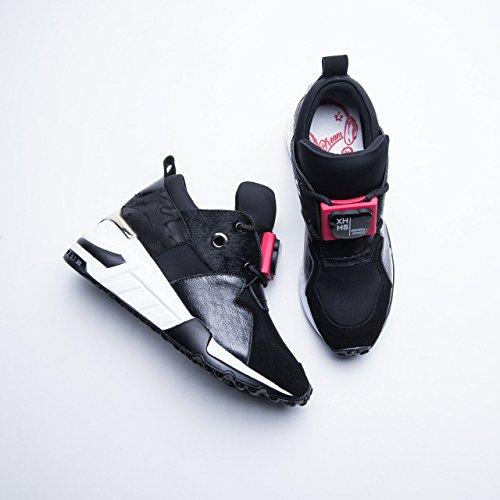 Zapatos y Zapatillas tamaño Casual Verano Primavera Zapatos para para Cuero para Mixed Otoño 41 Colors Mujer Casuales Mujer Color Tie Zapatos para Negro Plataforma Mujer 0qI0r