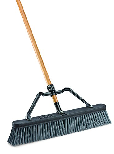 Libman Commercial 829G Rough Surface Industrial Push Broom with Brace, 65'' Length, 24'' Width, Black/Grey/Wood (Pack of 4) by Libman Commercial