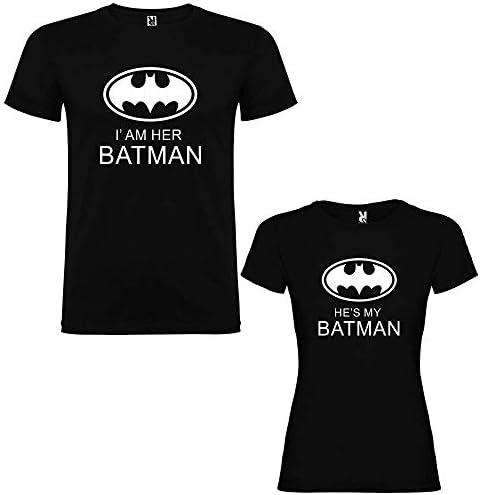 Pack de 2 Camisetas Negras para Parejas, Iam Her Batman y Hes my Batman Blanco: Amazon.es: Ropa y accesorios